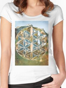 Mountain Geometric Collage Women's Fitted Scoop T-Shirt