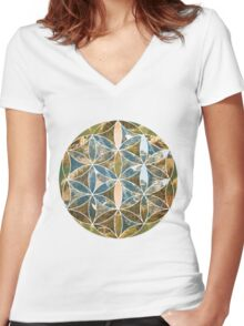 Mountain Geometric Collage 2 Women's Fitted V-Neck T-Shirt