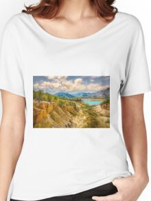 Valley wall, reservoir and mountains at Orxeta Women's Relaxed Fit T-Shirt