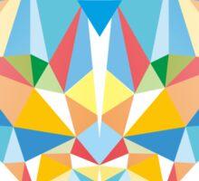 Brave Diamond Cat in Geometrical Triangles Kaleidoscopic Eye Sticker