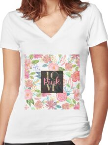 """Beautiful watercolor floral """"Love Pink"""" Women's Fitted V-Neck T-Shirt"""