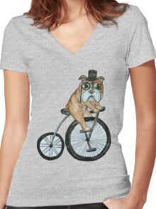 English bulldog riding a penny-farthing Women's Fitted V-Neck T-Shirt