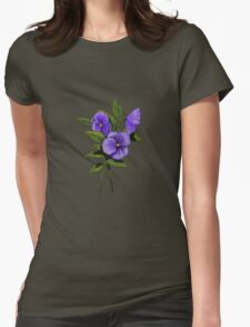 Purple Pansies: Original Colour Pencil Drawing, Flowers Womens Fitted T-Shirt