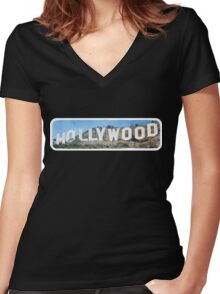 Hollywood Women's Fitted V-Neck T-Shirt