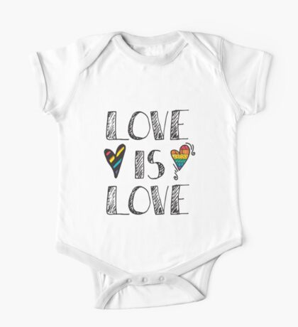 Love Is Love Doodles LGBT One Piece - Short Sleeve