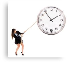 Businesswoman trying to stop time Metal Print