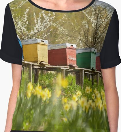 Bee hives in the field and orchard Chiffon Top
