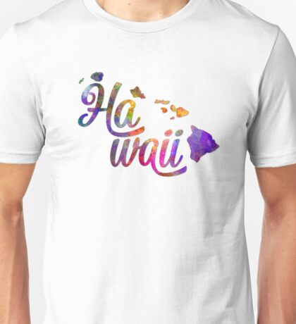 Hawaii US State in watercolor text cut out Unisex T-Shirt