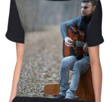 Guitarist singing outdoor in the forest Chiffon Top