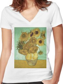 Vincent Van Gogh - Sunflowers  Women's Fitted V-Neck T-Shirt