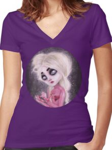 lost forever in a dark space Women's Fitted V-Neck T-Shirt
