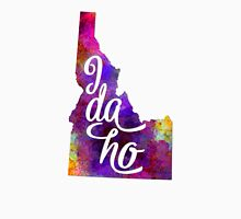Idaho US State in watercolor text cut out Unisex T-Shirt