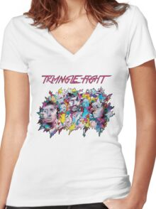 Triangle Fight's Face-Splash Women's Fitted V-Neck T-Shirt