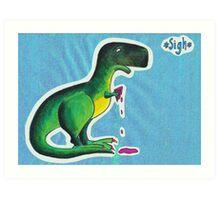 T-rex eats ice cream Art Print
