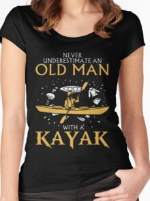 old man with a kayak Women's Fitted Scoop T-Shirt