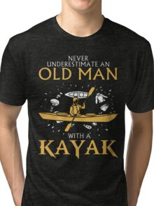 old man with a kayak Tri-blend T-Shirt