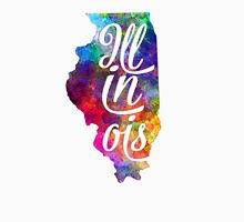 Illinois US State in watercolor text cut out T-Shirt