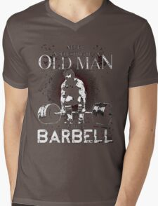 old man with a barbell Mens V-Neck T-Shirt