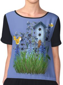Larkspur Garden with Yellow Canary Chiffon Top