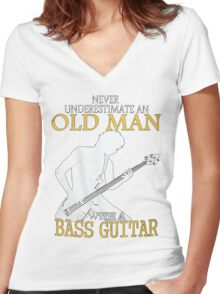 old man with a bass guitar Women's Fitted V-Neck T-Shirt