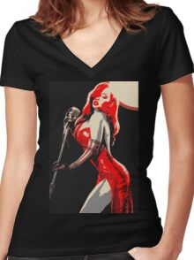 Jessica Rabbit Pin Up Women's Fitted V-Neck T-Shirt