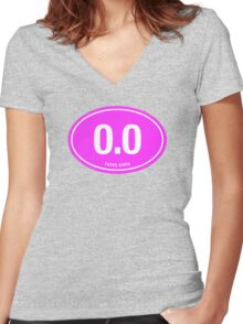 0.0 - NO FUCKS GIVEN - Pink Women's Fitted V-Neck T-Shirt