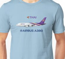 Illustration of Thai Airways Airbus A380 - Blue Version Unisex T-Shirt