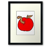 apple worm sweet disgusting hole larva caterpillar eating Framed Print