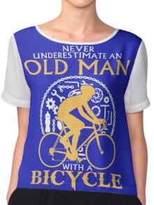 old man with a bicycle Chiffon Top