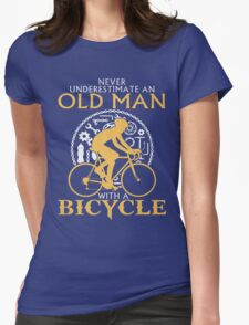 old man with a bicycle Womens Fitted T-Shirt
