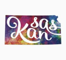 Kansas US State in watercolor text cut out Kids Tee
