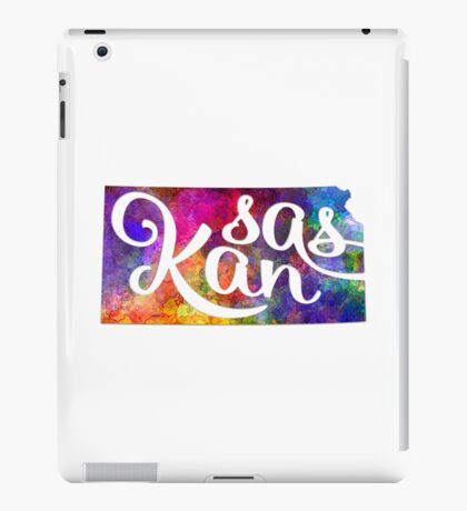 Kansas US State in watercolor text cut out iPad Case/Skin