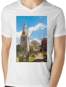 Building, Church, St Peter`s, North Rauceby, Linconshire Mens V-Neck T-Shirt