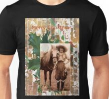 Vintage Cowgirl Horse Merry Christmas Unisex T-Shirt