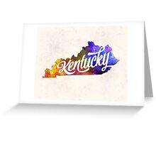 Kentucky US State in watercolor text cut out Greeting Card
