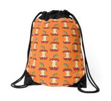 Bitten Apple Orange Pattern Drawstring Bag