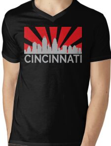 Cincinnati Sunrise Skyline Distressed Mens V-Neck T-Shirt