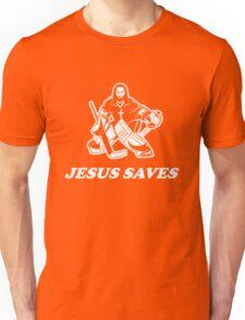 Jesus Saves Hockey Goalie Unisex T-Shirt
