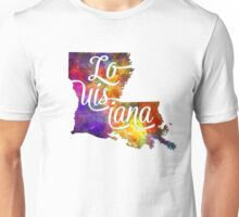Louisiana US State in watercolor text cut out Unisex T-Shirt