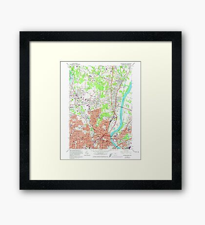 USGS TOPO Map Connecticut CT Hartford North 330605 1964 24000 Framed Print
