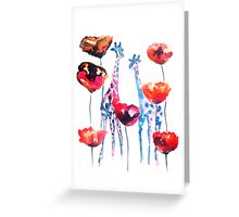 Giraffes in the Poppies Greeting Card