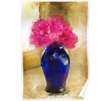 Pink Carnations In Cobalt Blue Vase Poster