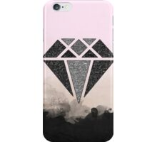 Black and Silver glitter diamond, watercolor, damask iPhone Case/Skin