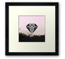Black and Silver glitter diamond, watercolor, damask Framed Print