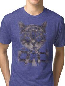 Gangster Cat (Platinum) Tri-blend T-Shirt