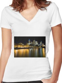 Evenings on the Yarra - Melbourne Australia Women's Fitted V-Neck T-Shirt