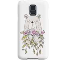 Cartoon Animals Cute Bear With Flowers Samsung Galaxy Case/Skin