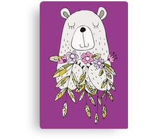 Cartoon Animals Cute Bear With Flowers Canvas Print