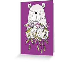 Cartoon Animals Cute Bear With Flowers Greeting Card