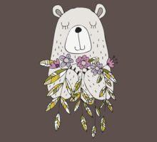 Cartoon Animals Cute Bear With Flowers Baby Tee